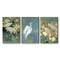"Wall26 - 3 Panel Cranes Wading in Water Set Gallery - CVS - 16""x24"" x 3 Panels"
