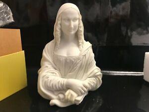 Statue en résine ancienne ATTAKUS BUSTE DE MONA LISA LA JOCONDE MONOCHROME
