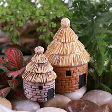 1 Pair Miniature Thatched House Fairy Garden Craft Micro Landscape Decor DIY