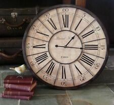 RR $149 Large 60cm Vintage Industrial Style Grand Hotel Metal Timber Wall Clock