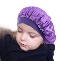 Elastic Kids Girl Satin Bonnet Cap Night Sleep Hair New Cover Head Hat Wide P2R0