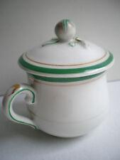 Pot à crème en porcelaine blanche à liserés verts, Louis Philippe