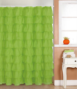 Ruffle SHEER  Fabric Shower Curtain  Color  GREEN