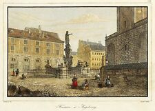 AUGSBURG - AUGUSTUSBRUNNEN - Lemaitre - kolorierter Stahlstich 1838