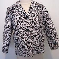 SIGRID OLSEN Black And White Cotton Jacket With Flower Design Size 4