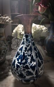 Antique Chinese blue and white porcelain vase, with gilt neck and base, flawless