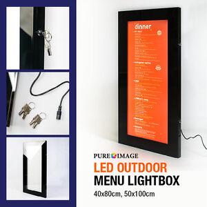 Outdoor lockable menu box display case notice board poster holder Illuminated
