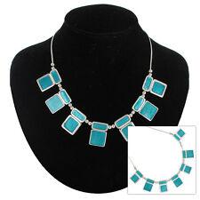 Necklace Fringe Collar Silver Tone Turquoise Blue Enamel Square Geometric