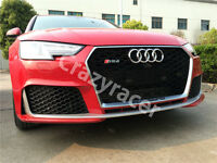 A4 Front Mesh Grille Grill for Audi A4 B9 2016+ To RS4 Style Silver Frame