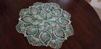 Vintg Hand Crochet Light Green Doily Centerpiece / Pineapple / 20 inch diameter