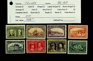 CANADA 1908 QUEBEC 300th ANNIV SET OF 8 FINE MINT STAMPS SC #96-103 CV $998