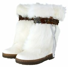 "New BEARPAW KOLA II 2 10"" Boot White Goat Fur Feather Sheepskin Women 12 Exotic!"