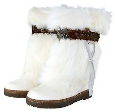 "New BEARPAW KOLA II 2 10"" Boot White Goat Fur Feather Sheepskin Women 12 Exotic!"
