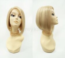 Pre-Trimmed Lace Front Golden Blonde Bob Wig Short Straight Heat Resistant 9""
