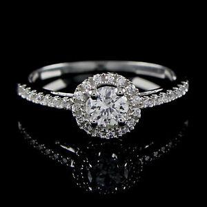 Cyber Monday 1/2ct Round Diamond Halo Engagement Bridal Ring with Band 2-Pcs Set