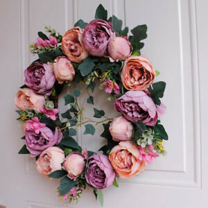 Artificial Floral Hanging Wreath Front Door Home Flower Wall Garland Large 40cm