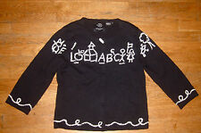 MICHAEL SIMON RARE BEADED TEACHER ABC ALPHABET FUN CRAZY SWEATER S SMALL BLACK