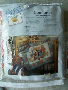New Blue Jean Teddy Baby Blanket Comforter & 2 New Receiving Blankets by Springs