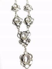 WHITE TOPAZ Quartz Crystal  STERLING SILVER NECKLACE