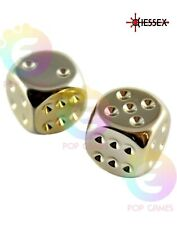 Set 2 Dadi D6 16mm Color ORO Placcato CHESSEX plated Sei Facce D&D RPG 29006