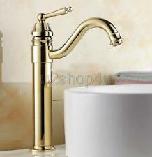 Luxury Gold Color Brass Single Handle Kitchen Sink Faucet Mixer Basin Tap Ugf055