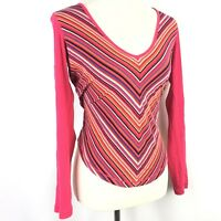 Tommy Hilfiger Womens Shirt Size Small Striped Pink Orange Long Sleeve V Neck