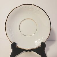 Vintage Royal Kents Poland White Embossed Saucer with Gold Gild
