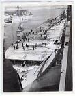 1944 Shoveling Snow Off Flight Deck British Escort Carrier Original News Photo