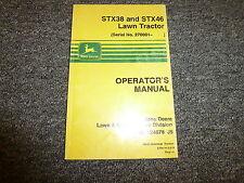 John Deere STX38 & STX46 Lawn Tractor Owner Operator Manual User Guide OMM124078