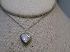 "Vintage Sterling Silver Heart Locket Necklace, 20"", 3.20 grams, signed TR"