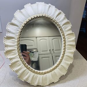 Vintage SYROCO Wood Table Wall Mirror Ivory Scallop Ruffle SHABBY CHIC 15 x 17