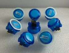 Japan Sanwa Silent Clear Blue Buttons X 8 pc OBSCS-30-CB Video Game Arcade Parts