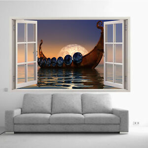 MOON CALM SEA VIKING BOAT WALL STICKERS 3D ART DECAL MURAL ROOM OFFICE DECOR VY2