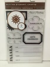 Holiday Invitation Stamp Set Martha Stewart Clear Cling Acrylic M230377 NEW