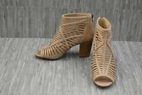 Not Rated Love To All MicroSuede Strappy Peep Toe Booties, Women's 9, Beige NEW