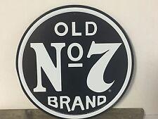 """12"""" round """"Old No 7Brand"""" Jack Daniels metal sign bar pub man cave liquor"""