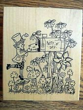 New ListingLeprechaun With Mailbox Flower Garden Rubber Stamp St. Patrick'S Day Northwoods