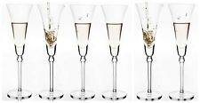 Set of 6 Tall Clear Champagne Glasses Prosecco Premium Glass Flutes 220ml Dining