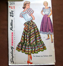RUFFLED FLARED SKIRT Size Waist 26 Vintage Sewing Pattern Simplicity 2571