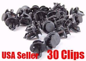 30 x Nylon Black Front Rear Bumper cover Push-Type Retainer Clip For Honda Acura