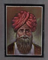 Hand Painted Finest Miniature Portrait Of India Old Man Painting On Cloth