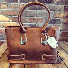 Womens Brown Tan Medium Faux Leather Moda Tote Handbag & Free River Island Gift