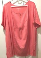 Tunic Top, Woman Within Size 2x (26-28), Pintucked Henley, Pink/Tea Rose SS  NIP