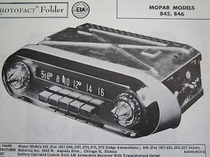 1957 DODGE 845, DESOTO 846 MOPAR RADIO PHOTOFACT