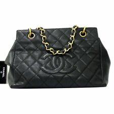 Auth CHANEL Caviar Leather GST Tote Hand Bag Black Women G1663