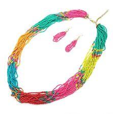 Glass Seed Bead Torsade Necklace Set Multi Strand Bohemian Gypsy Boho Beads Long