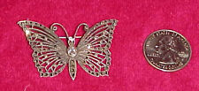 Vtg Sterling Silver Marcasite ? Butterfly Brooch Pin Jewerly Rhinestone Jewel
