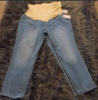 A Glow Full-Coverage Women's Maternity Jeans Belly Band Crop Stretch NWT 16