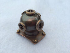 Antique Finish Brass Diver Helmet - Necklace Pendant Charm -Maritime Navy Diving