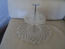 Vintage 2Tier Glass Cake Stand frosted & Clear Design Serving Display